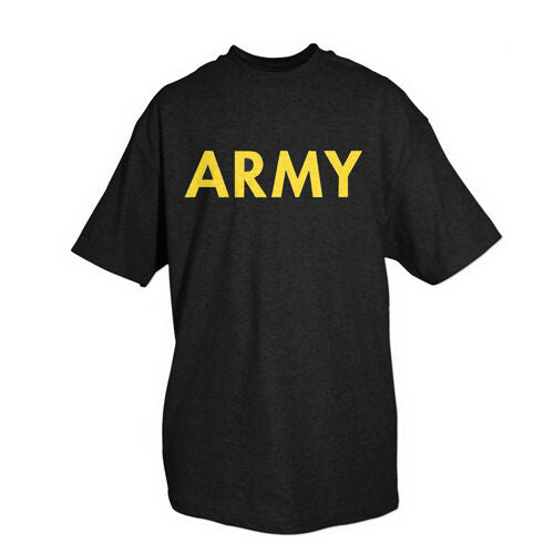 Military T-shirt US Army Yellow Print Black Shirt Fox 64-619