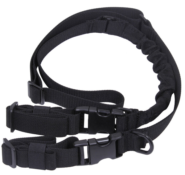 Black Deluxe Adjustable Tactical 2 Point Hunting Sling Rifle Bungee Rothco 4651