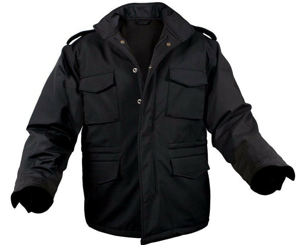 Military Style Soft Shell Tactical M-65 Field Jacket Coat Black Rothco 5247