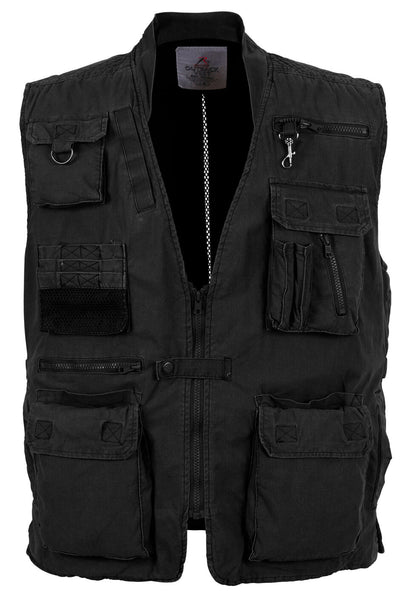 Mens Travel Vest Safari Outback Adventure Black 18 Pockets Rothco 7575
