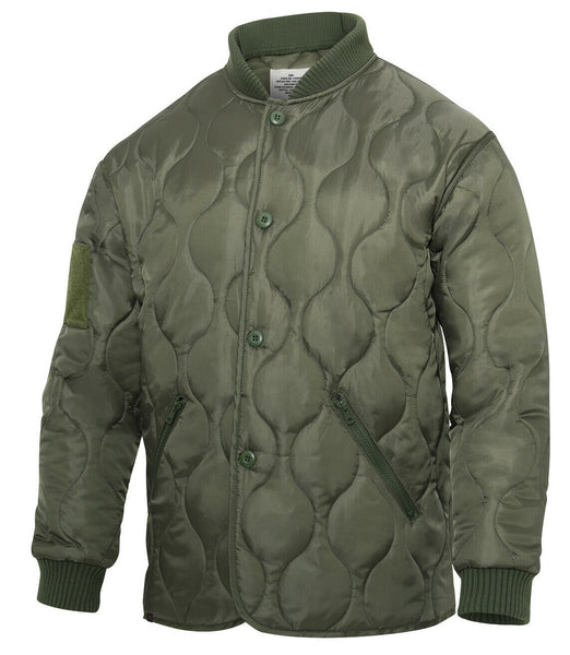 Olive Drab Military Jacket Quilted Woobie Jacket With Patch Fields Rothco 10421