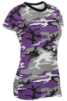 Womens Camo T-shirt Ultra Violet Camouflage Longer Length Shirt Rothco 5754