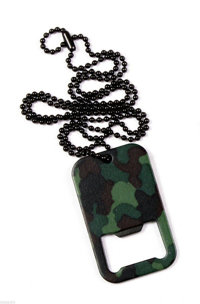 WOODLAND CAMO DOG TAG BOTTLE OPENER WITH CHAIN ROTHCO 8794