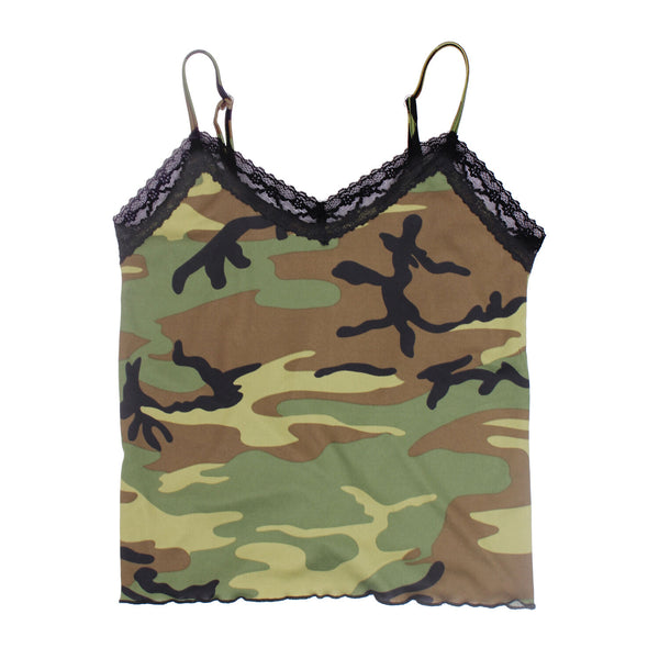 Women's Black Lace Trimmed Woodland Camo Camisole Adjustable Straps Rothco 5490