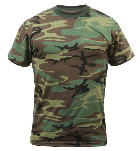 Camo T-shirt Woodland Camouflage Shirt Shirts Cotton Poly Blend Rothco 8777