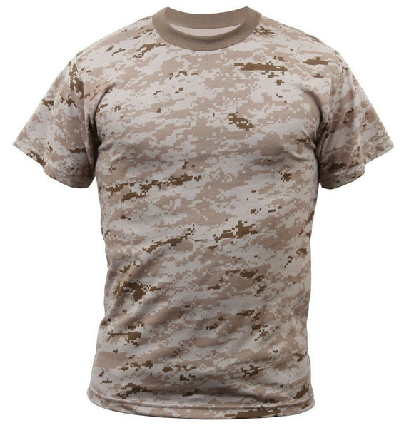 Camo T-shirt Desert Digital Camouflage Military Style Various Sizes Rothco 5295