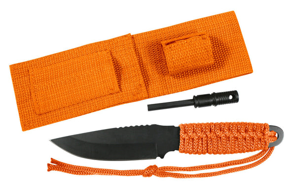 Survival Knife Paracord With Firestarter Orange 8 Inch Rothco 3664