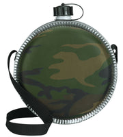 2 QT Canteen Woodland Camo Hiking Drinking Bottle Rothco 174