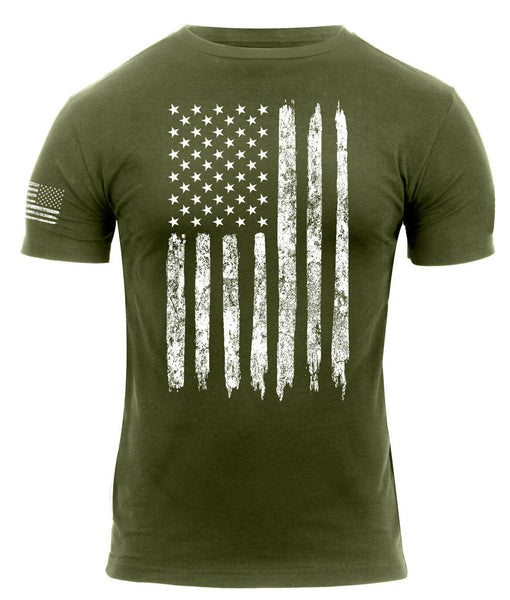 Patriotic America Athletic Fit Distressed USA US Flag T-shirt Olive Rothco 2832