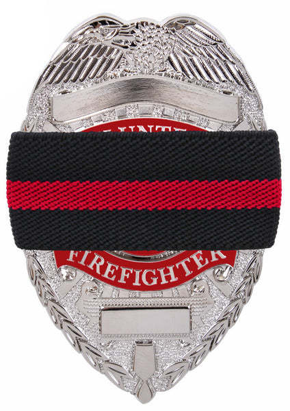 Black Thin Red Line Elastic Fire Dept Badge Mourning Band Rothco 1006