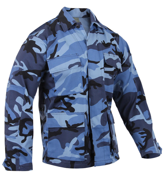 military style bdu shirt coat sky blue camo camouflage rothco 8882
