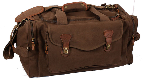 long weekend travel canvas bag brown shoulder strap carry handle rothco 9689