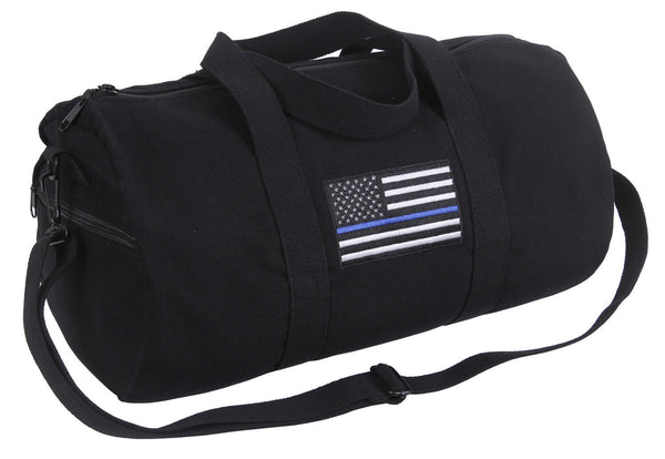 Police Thin Blue Line US Flag Shoulder Duffle Gym Bag Black Rothco 2230