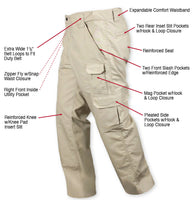 Tactical Duty Work Pants Uniform Trousers Khaki Rip Stop Rothco 4665