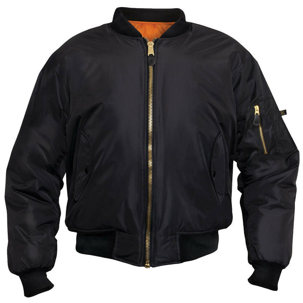 Tactical Black MA-1 Flight Jacket Water Resistant Bomber Rothco 2890