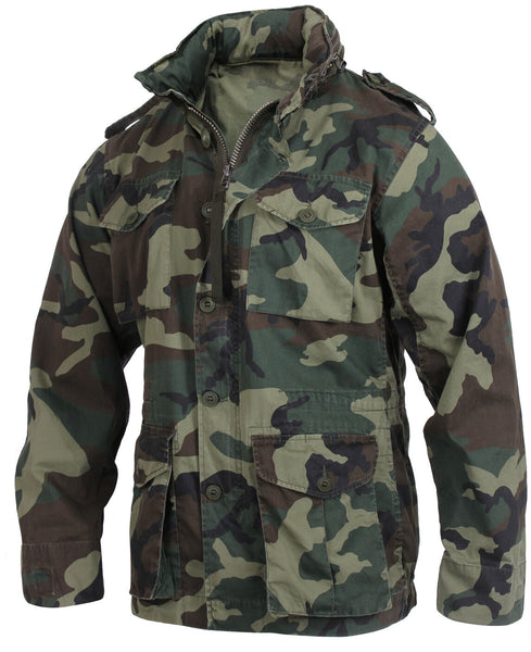 Military Vintage Style Lightweight M65 Jacket Woodland Camo Rothco 2851