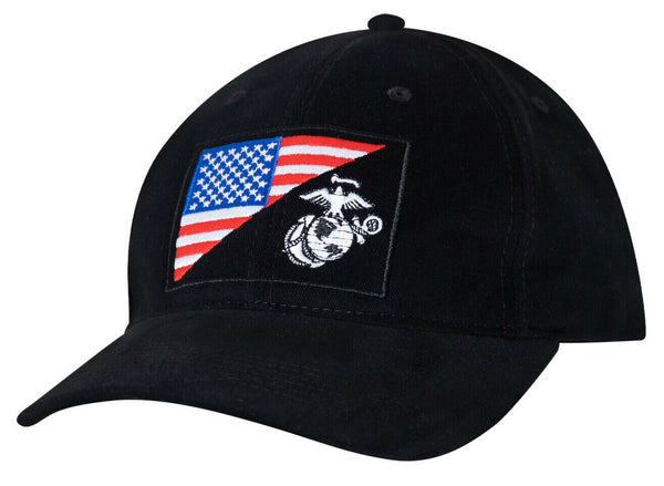 USMC Military Cap Globe Anchor Black Marine Low Profile Cotton Baseball Hat 4373