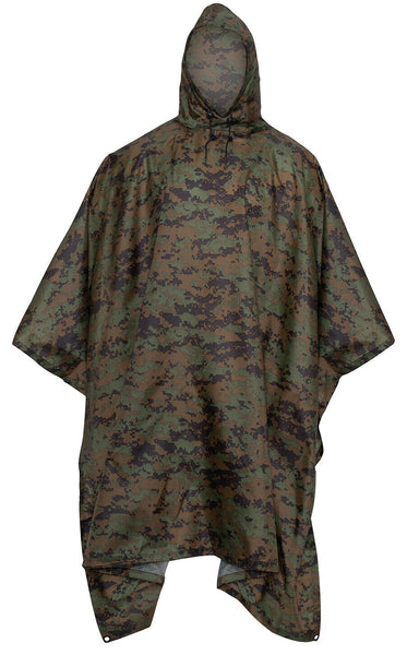 Rip Stop Rain Poncho Military Style Woodland Digital Camo Emergency Shelter 4358