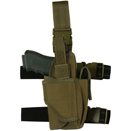 Coyote Brown Tactical Pistol Commando Holster Right Handed Drop Leg Fox 58-688