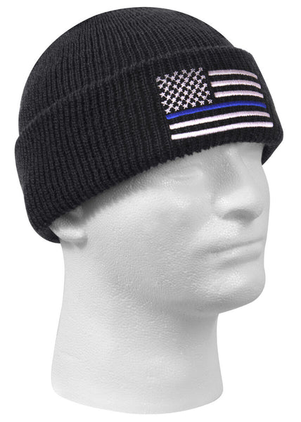 Police Thin Blue Line Watch Cap Acrylic Winter Hat Rothco 50342