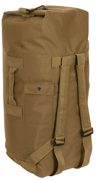 military style duffle bag double strap backpack coyote brown rothco 2684