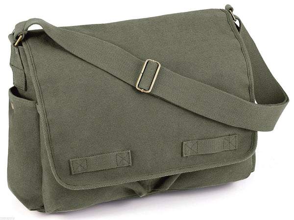 messenger bag olive drab heavyweight canvas adjustable strap rothco 9148
