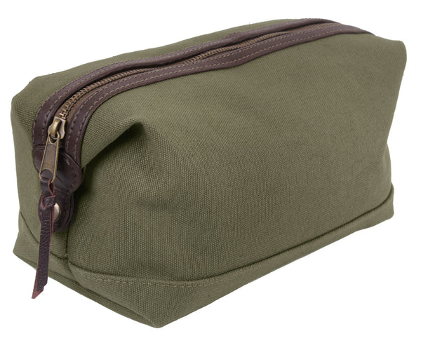 Toiletry Travel Dopp Bag Canvas With Leather Olive Drab Rothco 9866