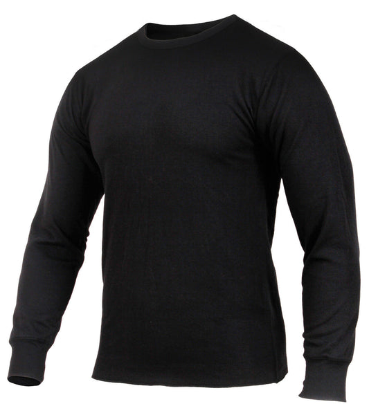 Thermal Cotton Polyester Top Shirt Long Sleeves Mid Weight Black Rothco 2827