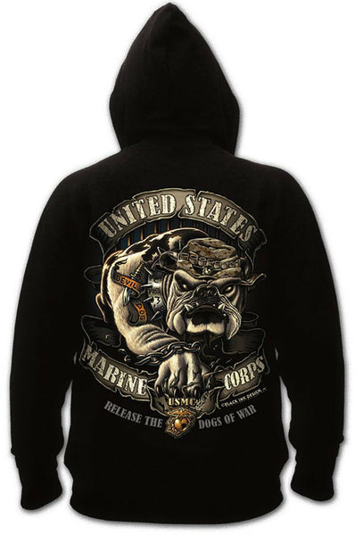 Mens USMC Hoodie Marines US Marine Corps Hooded Sweatshirt Black Bulldog 80333