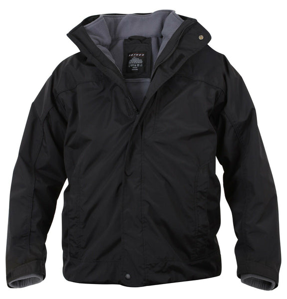 Winter Jacket Coat Black All Weather 3 Season Removable Fleece Liner Rothco 7704