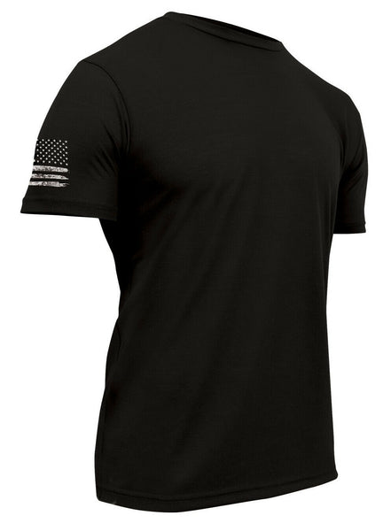 Tactical Black Military T-shirt Athletic Slim Fit US Flag Rothco 1743