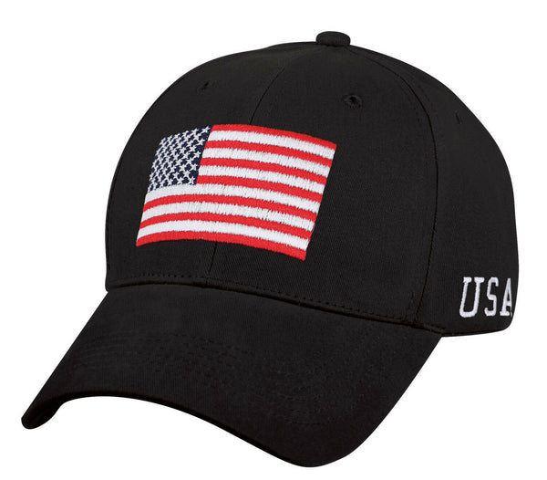 US Patriotic USA Flag Low Profile Baseball Cap Black Hat Ballcap Rothco 4619