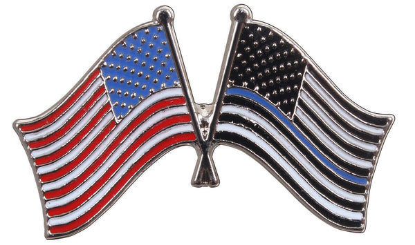 USA Flag Pin US Police Thin Blue Line Blue Lives Matter Rothco 1966