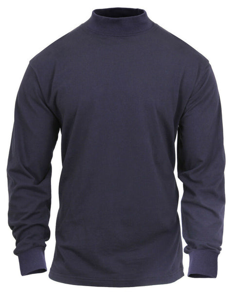 Blue Mock Turtleneck Cotton Long Sleeve Cold Weather Under Shirt Rothco 3400