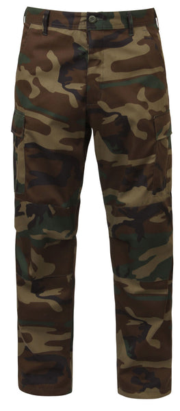 Woodland Camo BDU Pants Relaxed Fit Zipper Fly Cargo Uniform Pants Rothco 2941