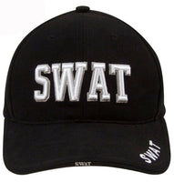 Black SWAT Police Baseball Cap White 3D Embroidery Low Profile Ballcap Hat 9722