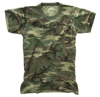 Boys Washed Woodland Camo T-shirt Kids Camouflage Vintage Feel Shirt Rothco 7605