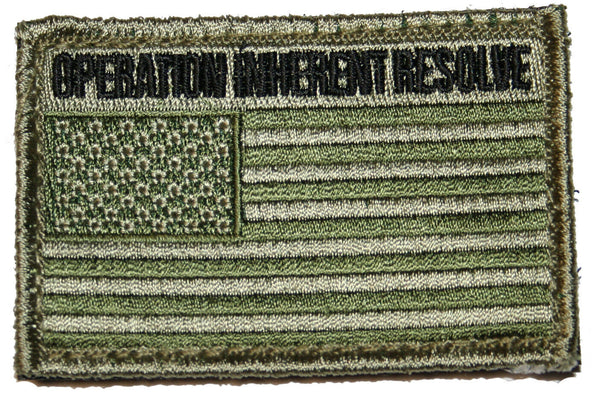 "Green US Flag Patch Military Tactical Operation Inherent Resolve 3"" x 2"""