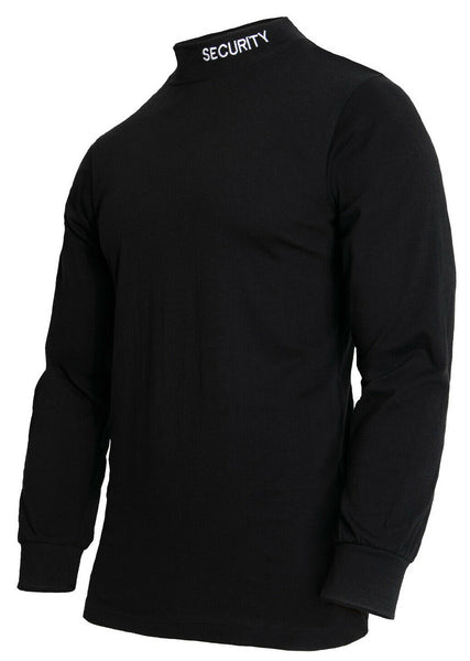 Mens Black Security Mock Turtleneck Cotton Long Sleeve Rothco 3413