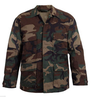 woodland camo bdu shirt military style camouflage coat rothco 7940