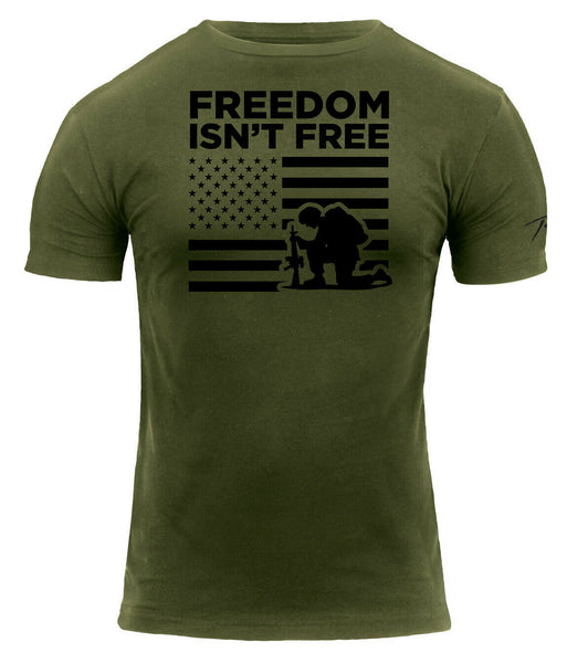 OD Freedom Is Not Free T-shirt Olive Drab Military US Flag Shirt Rothco 2708