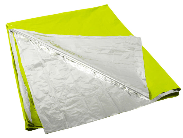 "Survival Emergency Blanket 82"" x 51"" Polarshield Safety Green Silver Rothco 1044"