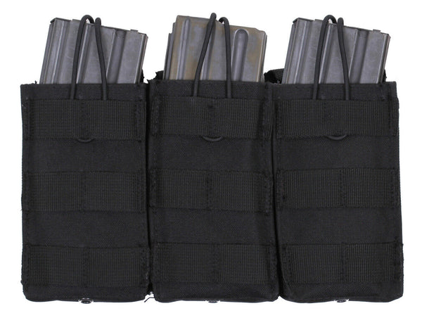 Black Tactical Triple Open Top Mag Pouch Molle Modular Rothco 41005