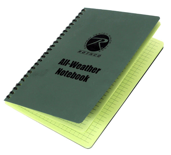 "notebook waterproof writing paper all weather 48 sheets 6"" x 8"" rothco 463"