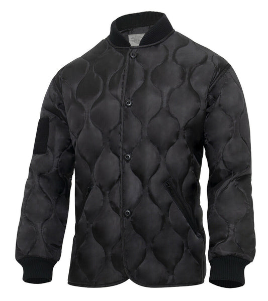 Black Military Jacket Quilted Woobie Jacket With Patch Fields Rothco 10424