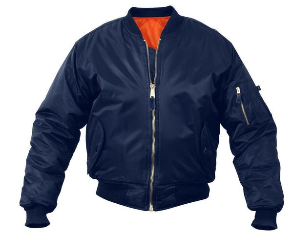 Navy Blue Military Air Force MA-1 Reversible Bomber Coat Flight Jacket 7325