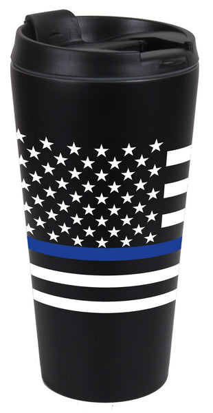 USA US Flag Thin Blue Line Black Stainless Steel Travel Mug 16 oz Rothco 1299
