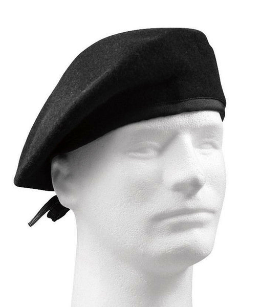 military style black gi type beret no flash wool rothco 4718