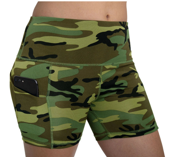 Womens Workout Shorts High Performance Fitness Shorts Woodland Camo Rothco 4980
