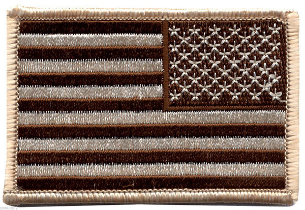 USA US Flag Patch Tan Reversed Iron Sew On Rothco 18888